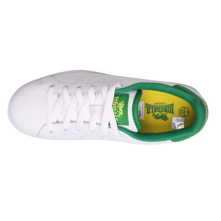 Lonsdale Leyton Leather Mens Trainers WhiteGreen Boy Men Loafers Shoes Breathable Casual New 165033_1